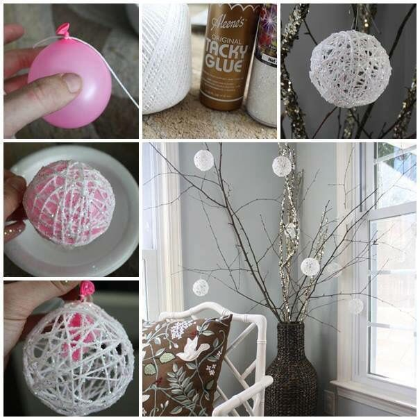 Kugler af garn kugler af garn pinterest wonderful diy glittery snowball ornaments for christmas how to make glittery snowball christmas tree ornaments out of water balloons and string solutioingenieria Image collections