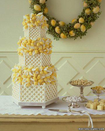 Absolutely stunning #white #lattice #wedding #cake with #lemon detailing