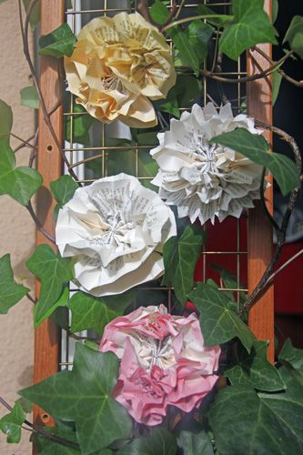 Paper Flowers Made From Old Book Pages Some Of Them Are Stained