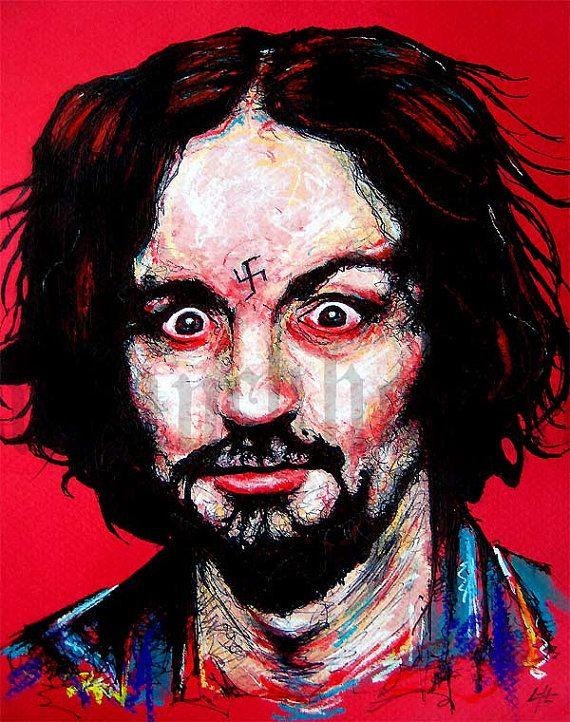 Print 8x10  Charles Manson  Serial Killer Helter by chuckhodi