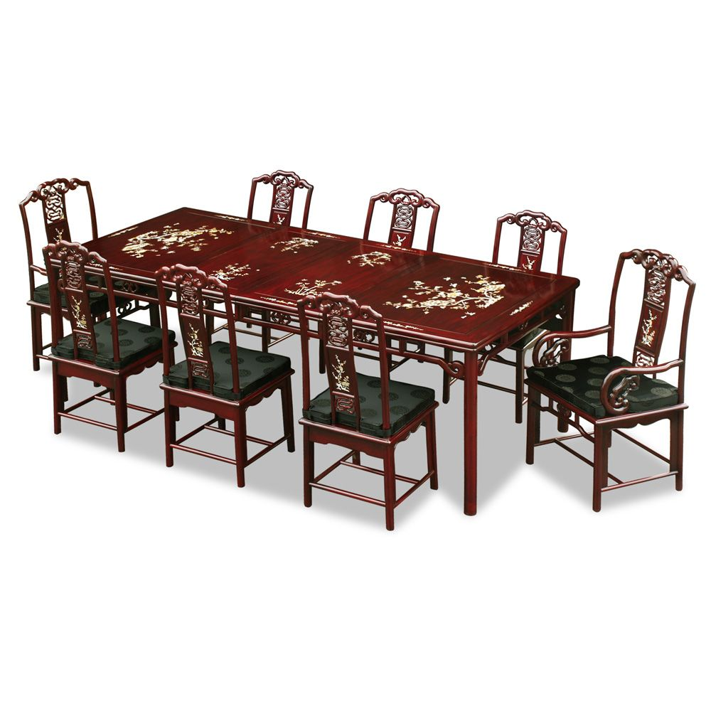 96in Rosewood Ling Chi Design Dining Table With 8 Chairs Dining