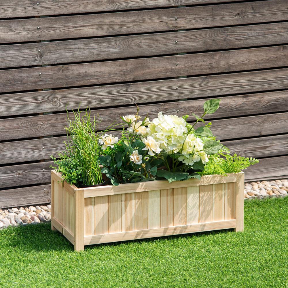 Costway Rectangle Wood Flower Planter Box Portable Raised