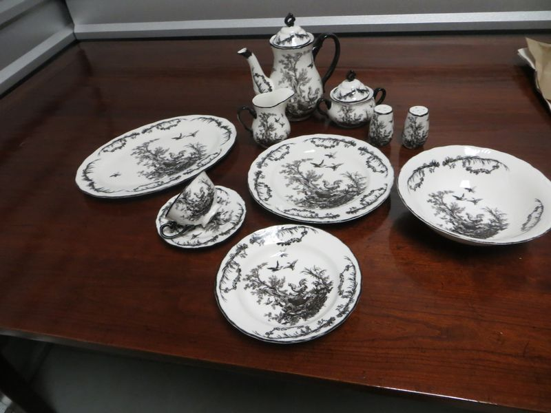 Dinnerware by Aux en Provence French black Toile pattern service for 8 x5 with 7 & Dinnerware by Aux en Provence French black Toile pattern service ...