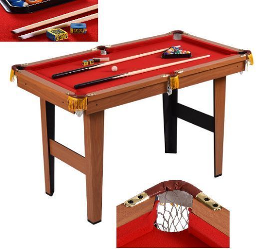 Billiard Pool Table Set Cues Balls Chalk Triangle Brush Kids Sport Indoor  48