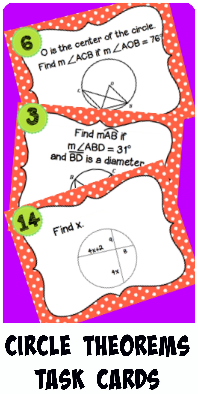 Geometry Circle Theorems Task Cards