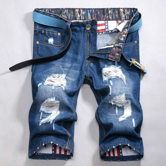 New Fashion Cool Distressed Men Short Jeans Shorts Denim Pants Ripped Size 28-38 US $25.38