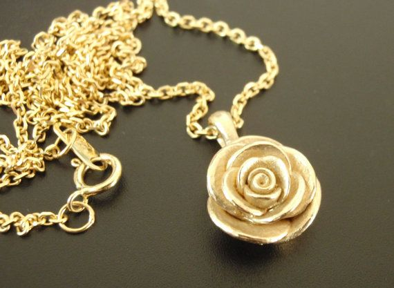 rose love com amazon gold handmade flower women dainty fettero dp necklace pendant chain fill jewelry