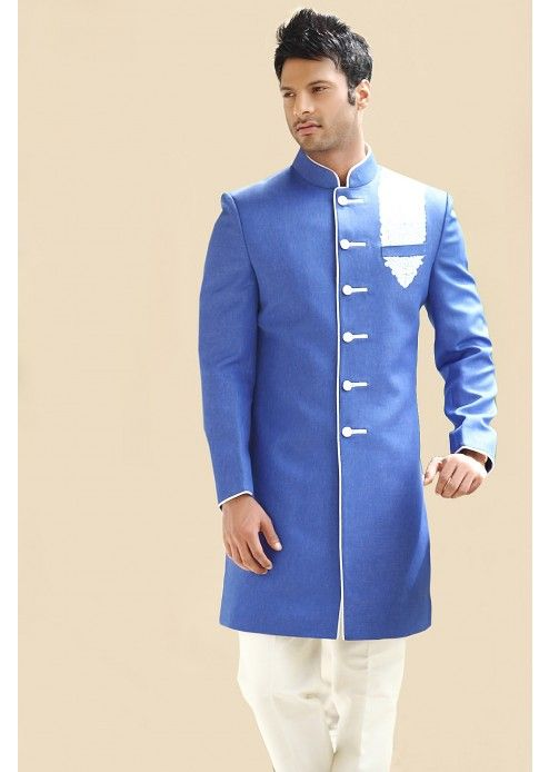 36275d4e3300f4 Blue Colour Slim Fit Indo-Western Sherwani - IW025 | Men fashion in ...