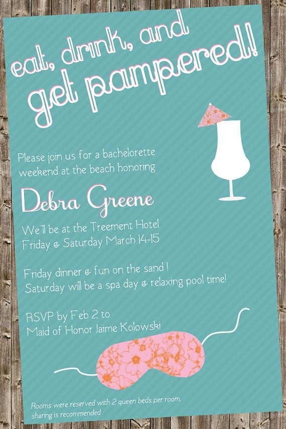 Bachelorette Party Invite Spa and/or Beach theme | etc ...