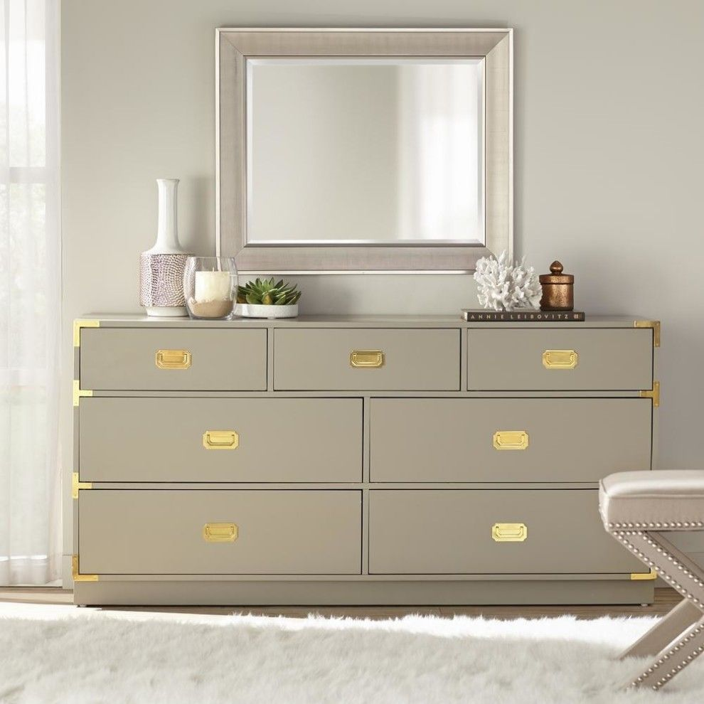 A Seven Drawer Dresser With Gold Hardware At The Corners And Handles That Might Actually Hold All Those Sweaters You Have Affordable Home Decor Grey Dresser Home [ 990 x 990 Pixel ]