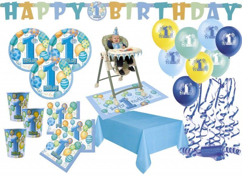 /Blau Unique Ersten Geburtstag Luftballons Hochstuhl Dekorieren Kit/