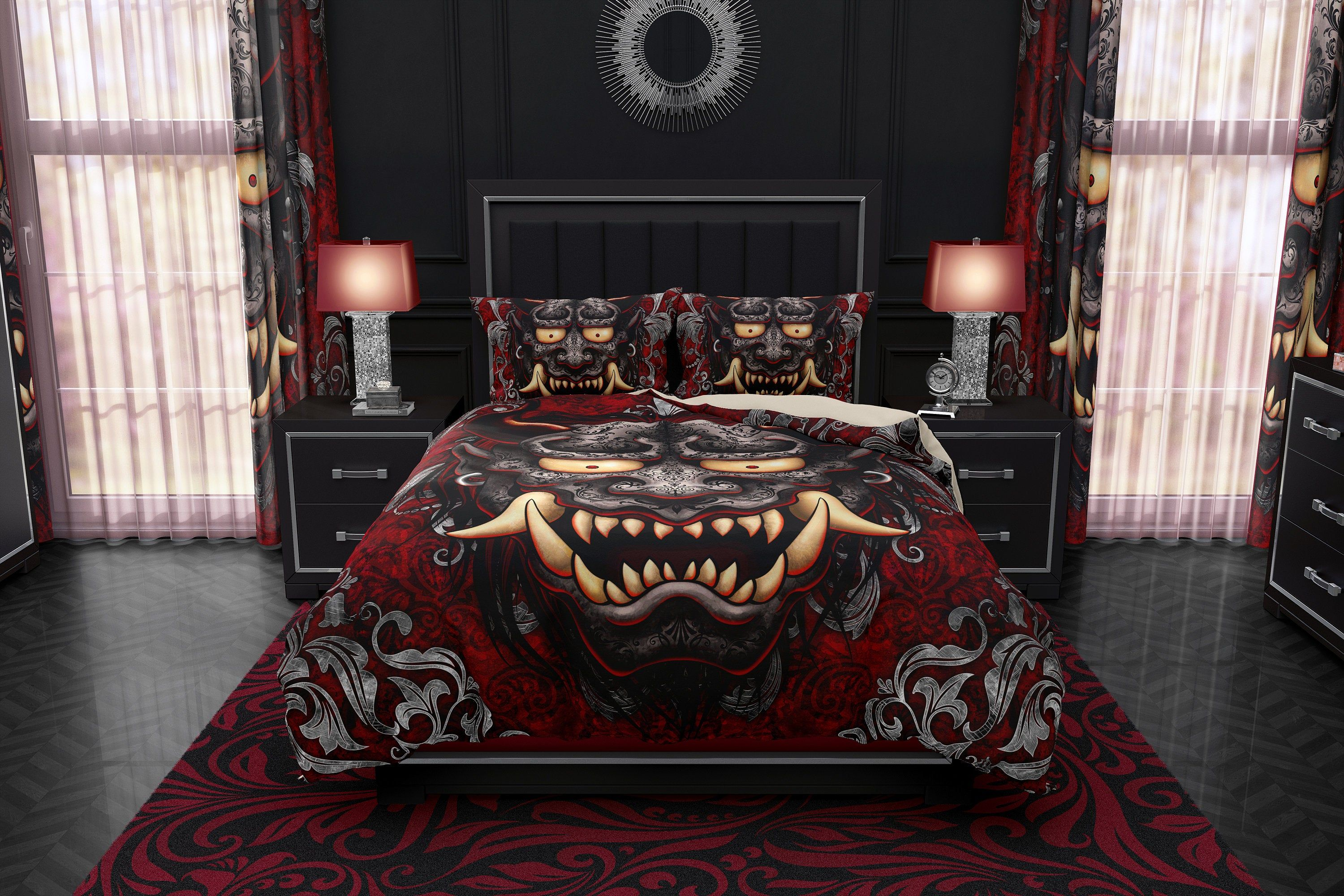 Gothic Oni Bedding Set, Duvet Cover or Comforter, Twin