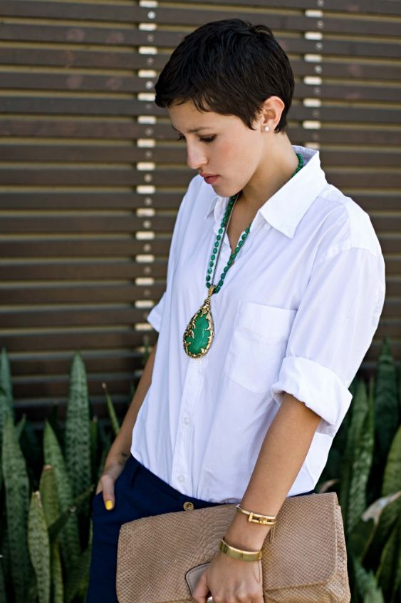 the ultimate white shirt paired with deep navy pants and great accessories