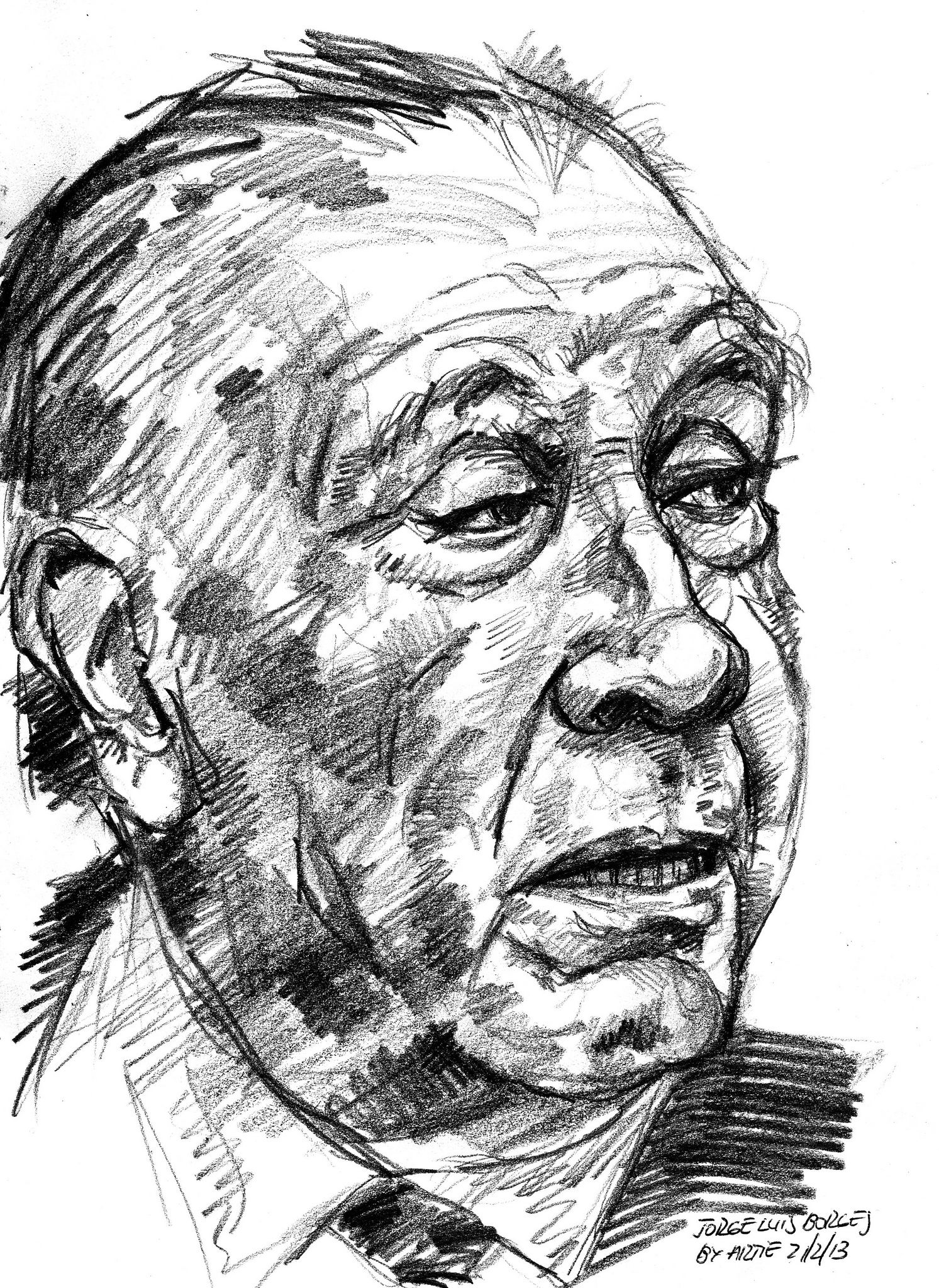 Jorge Luis Borges For Pifal Portrait Drawing Watercolor Portraits Face Drawing