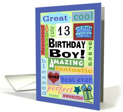 Digital Art Card Happy Birthday For 13 Year Old Boy Good Word Subway Greeting