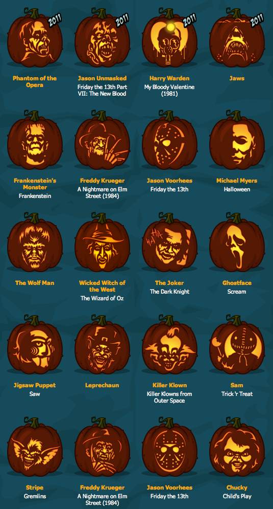 Pumpkin carving horror movie freak style day of the dead