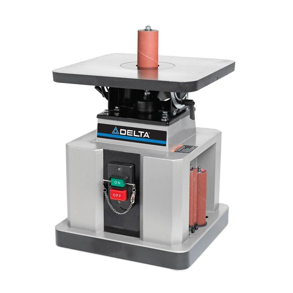 Delta 1 2 Hp Heavy Duty Bench Oscillating Spindle Sander With Tilt Table Oscillating Spindle Sander Spindle Sander Woodworking