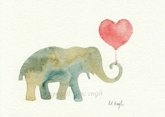 Green Blue Elephant With Heart Balloon Original By Growcreative