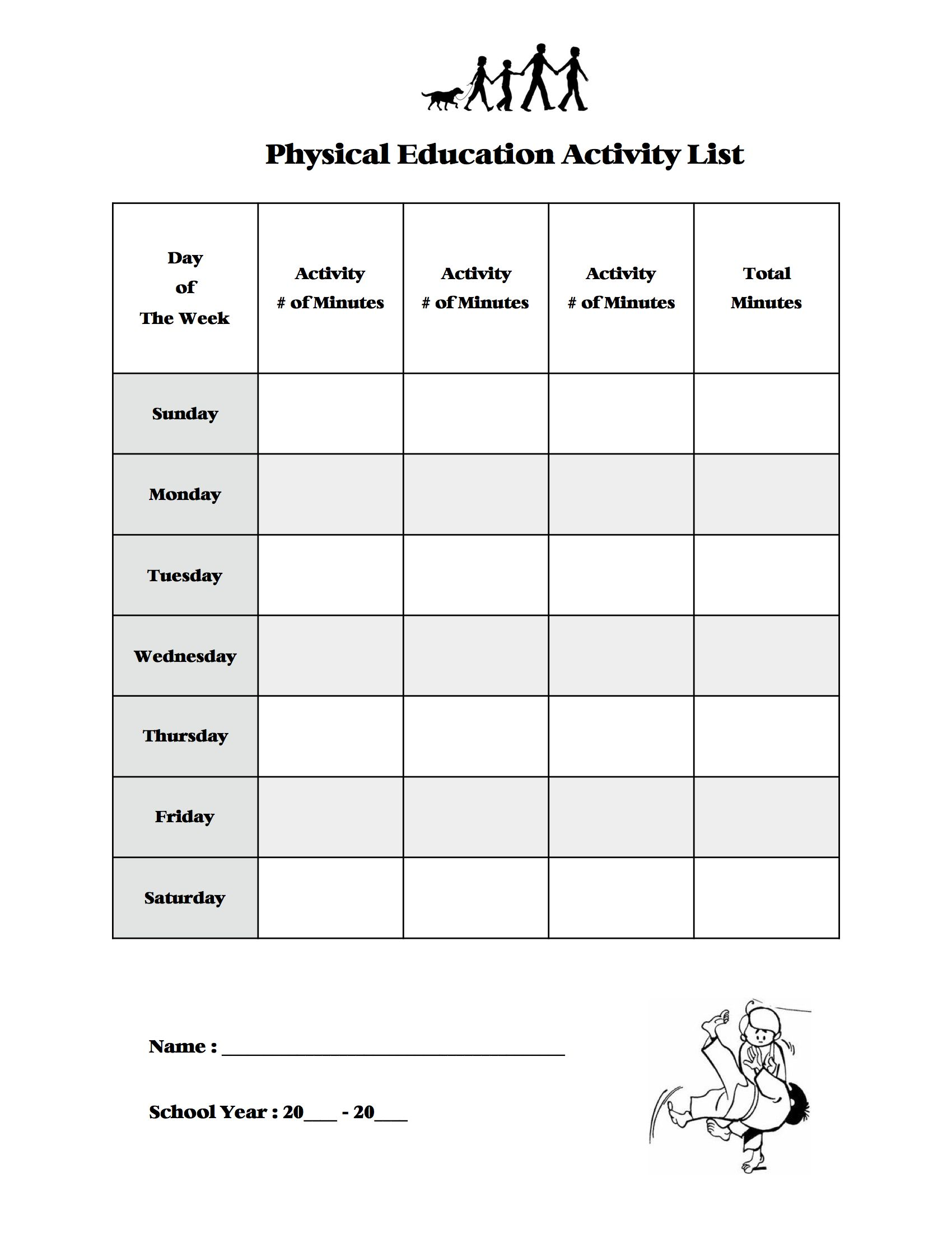 My Own Physical Education Chart I Came Up With To Track As