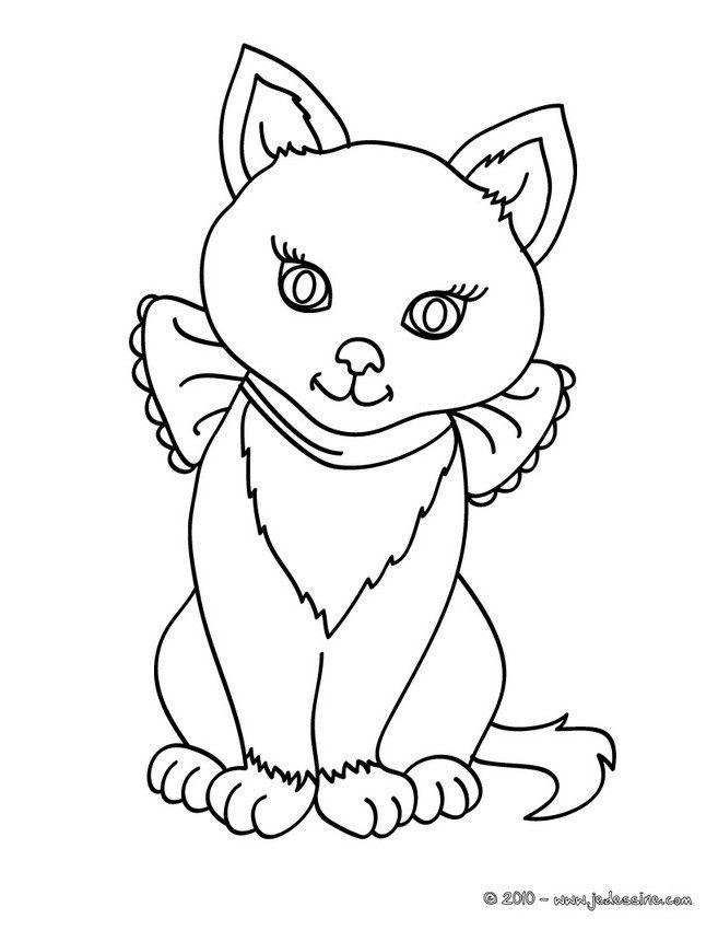 Coloriage d un chat assis avec un gros noeud imprimer - Dessin chat assis ...