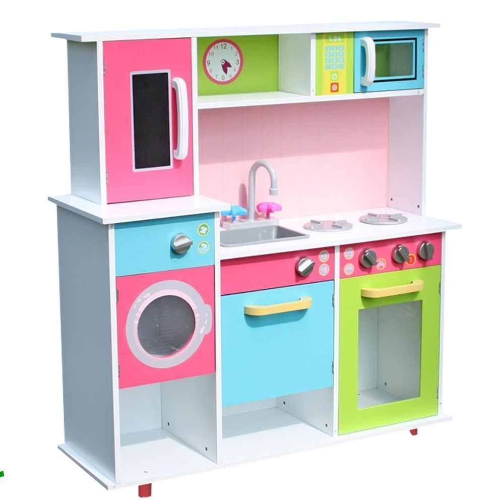 Details zu Kinderküche weiss bunt Spielküche Holz Spielzeugküche ...