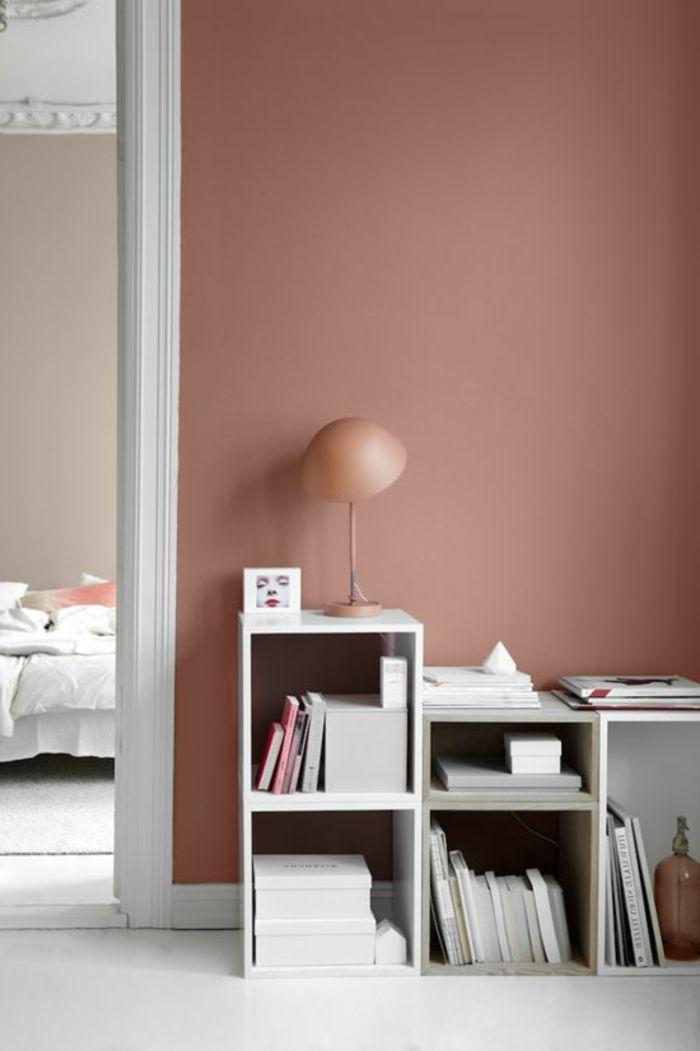 joli couloir de couleur rose saumon fonce comment bien habiller les murs