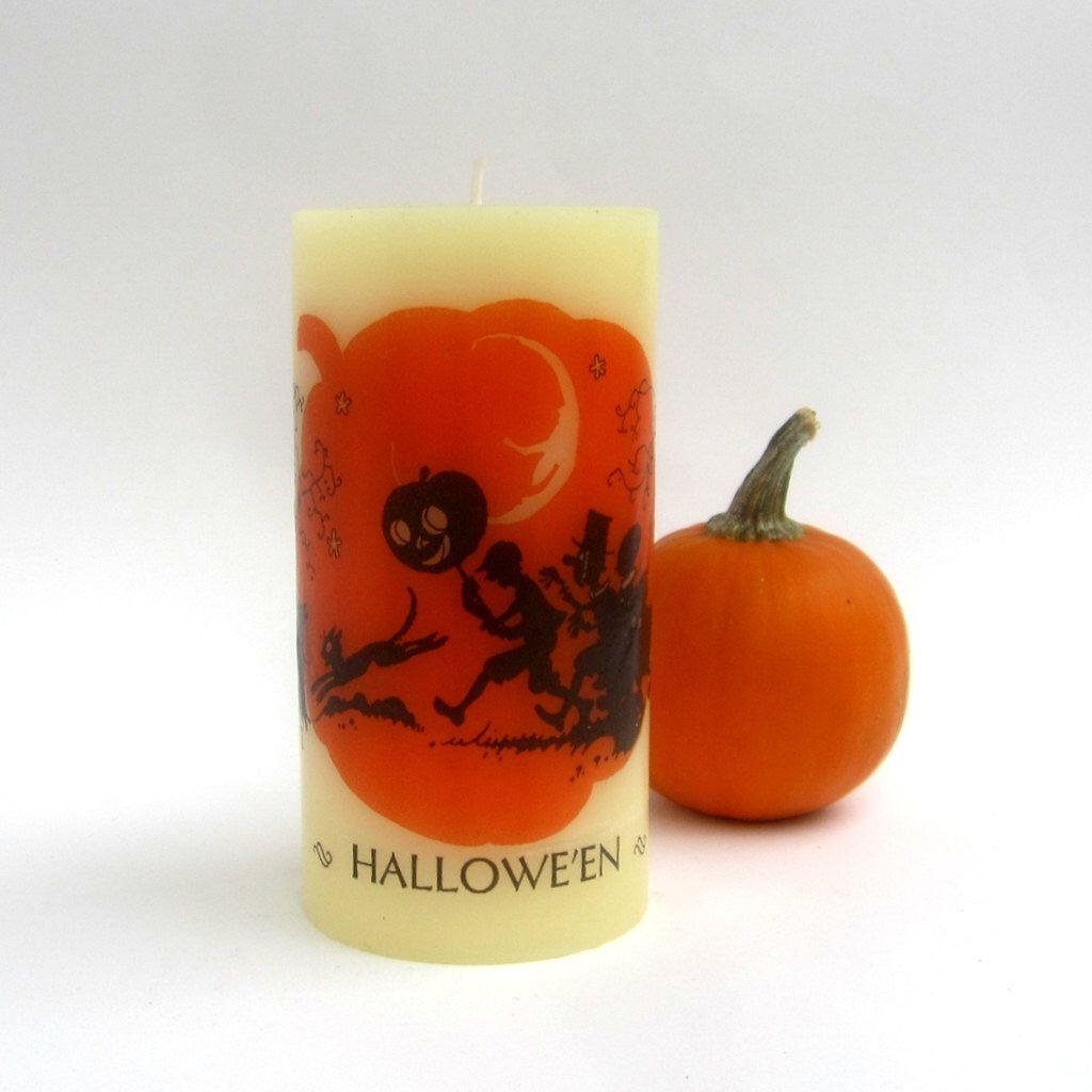 Vintage Halloween Art, Halloween Candles, Halloween Decor, Halloween Silhouette, Halloween Home Decor, Halloween Decoration, Trick or Treat by ChandlerAndKemp on Etsy https://www.etsy.com/listing/198557407/vintage-halloween-art-halloween-candles