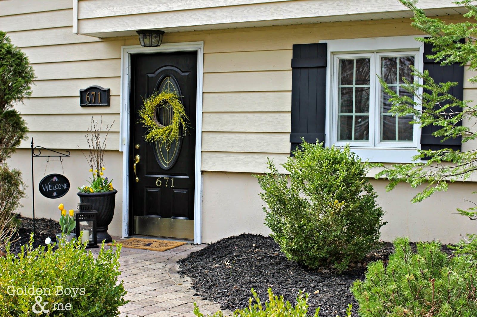 Adding Curb Appeal with New Shutters | Black front doors, Front ...