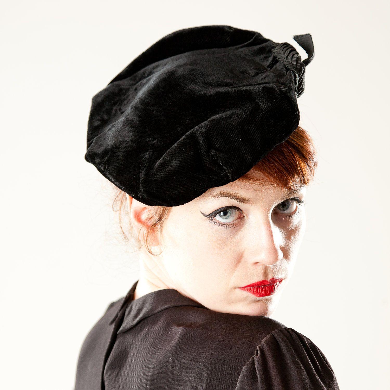 067329005693af Vintage 1950s Velvet Beret Hat Grosgrain Ribbon by AlexSandras, $42.00
