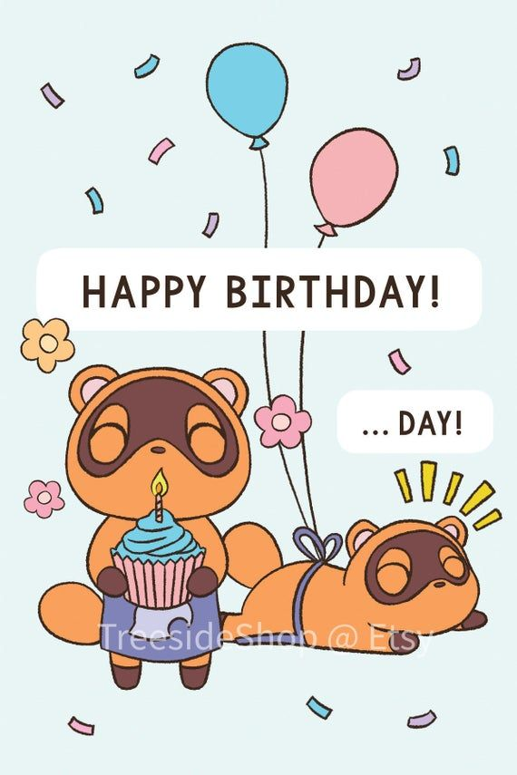Animal Crossing Birthday Card New Horizons Timmy And Tommy Etsy In 2021 Happy Birthday Animals Animal Crossing Animal Crossing Fan Art
