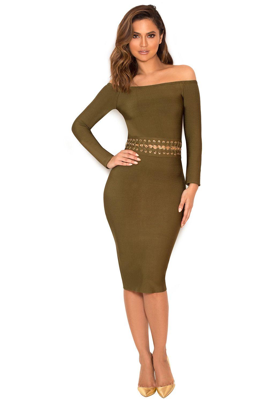 Clothing : Bandage Dresses : 'Jadzia' Khaki Off Shoulder Bandage Dress