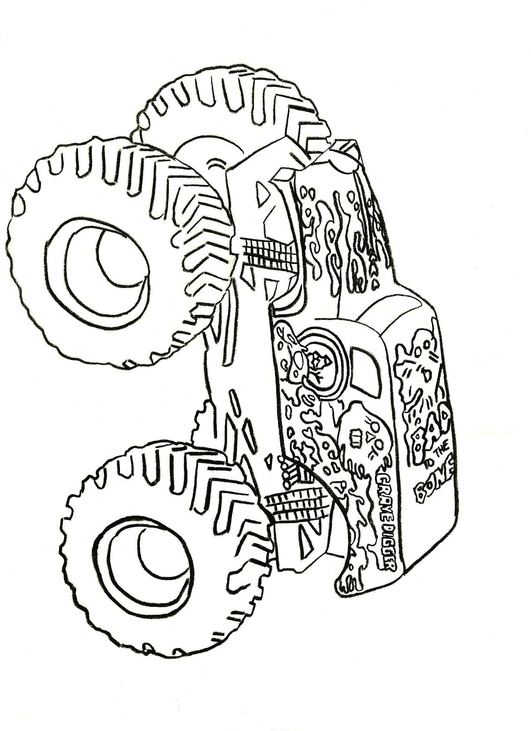 Truck Coloring Book Grave Digger | Kids Coloring Pages | Coloring ...