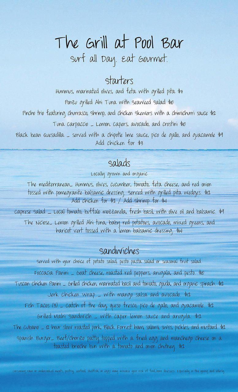 The Grill Pool Bar Brunch Menu Designed by Kelly Meagher in Rincon ...
