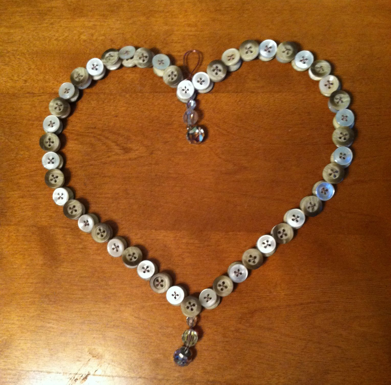 Button Heart  and Crystals