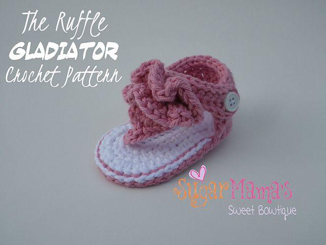f1c2780056b093 Ravelry  Ruffle Gladiator Baby Sandals pattern by Amanda Moutos