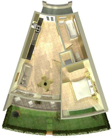 Planos de edificios circulares con departamentos con forma for Planos de interiores