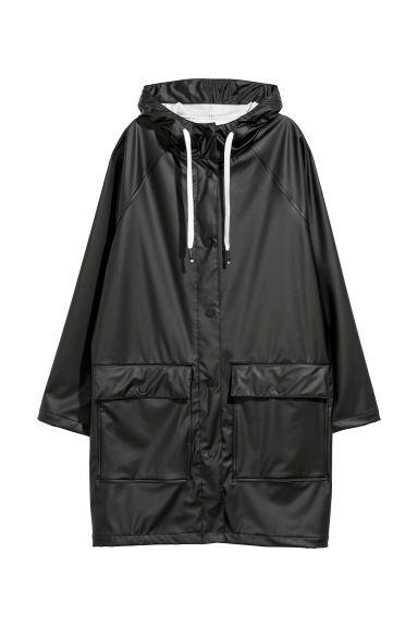 Hooded Raincoat Black Ladies H M Us Raincoat Outfit Hooded Raincoat Raincoat