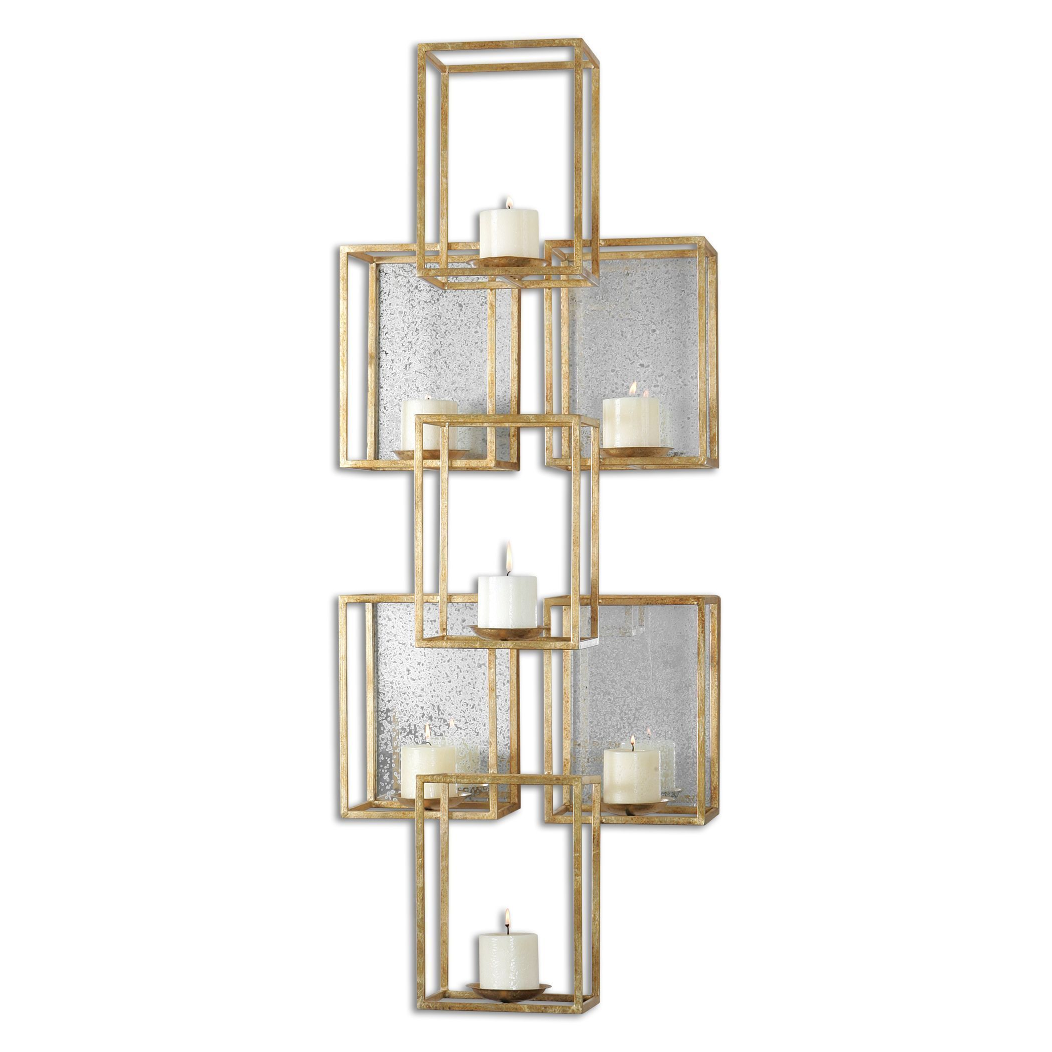 Uttermost ronana mirrored light candleholder wall sconce lights