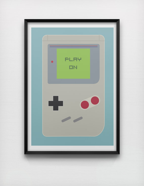 Play On 50 x 70cm Giclée Print Game Boy Retro Minimalist Video Game Console Graphic Poster Home