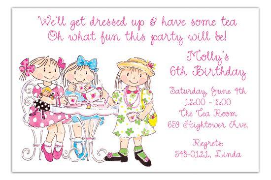 Girls Tea Party Invitation Fancy Nancy Tea party Pinterest Tea