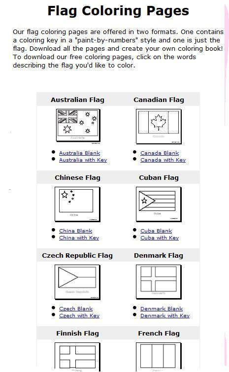 Flags of the world coloring pages with color key | School ...