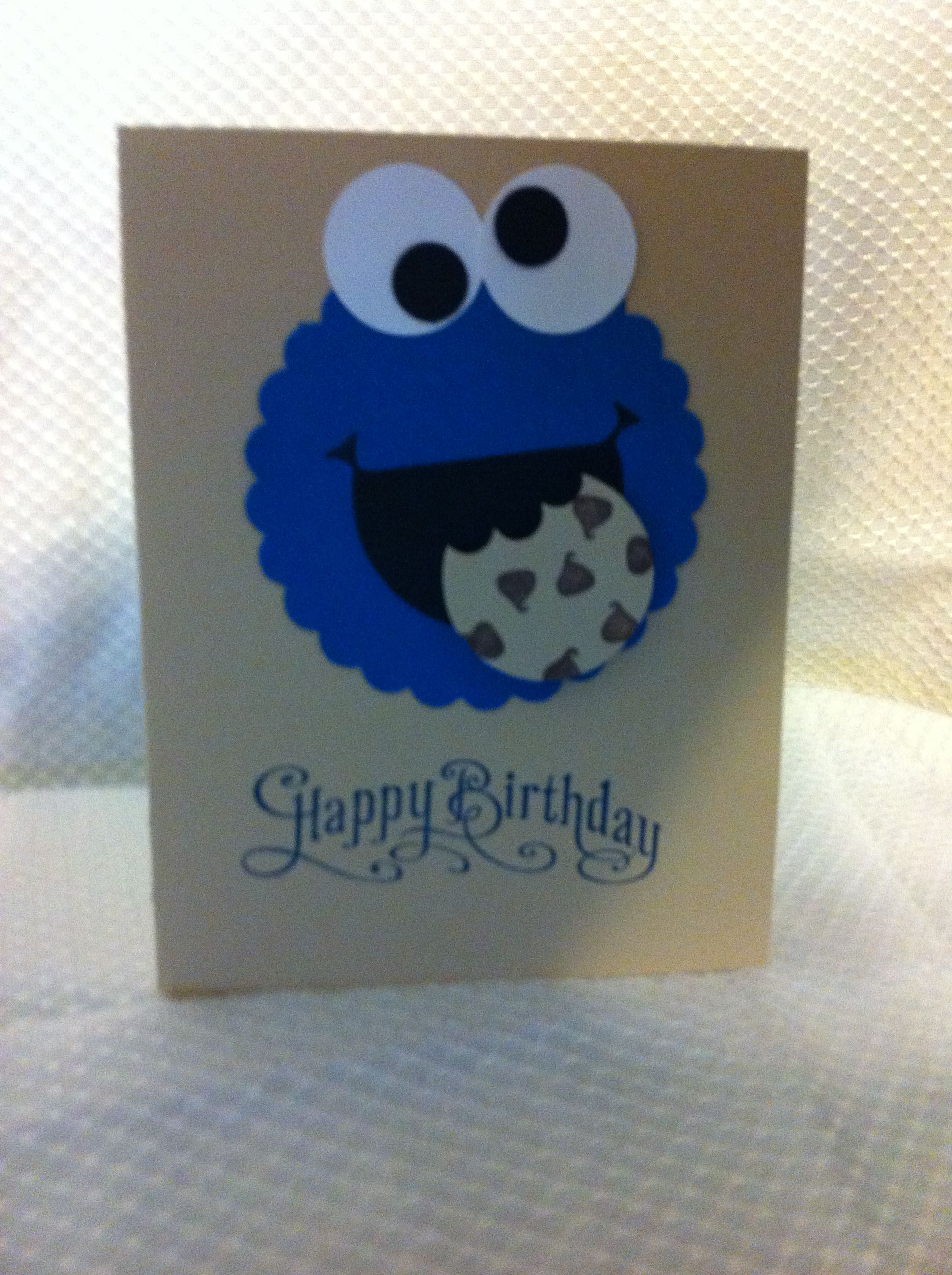 Cookie Monster Birthday Card Homemade Cards Cards Handmade Card Making