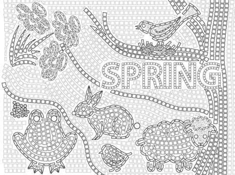 Mosaico de primavera Dibujo para colorear. Categorías: Mosaico ...