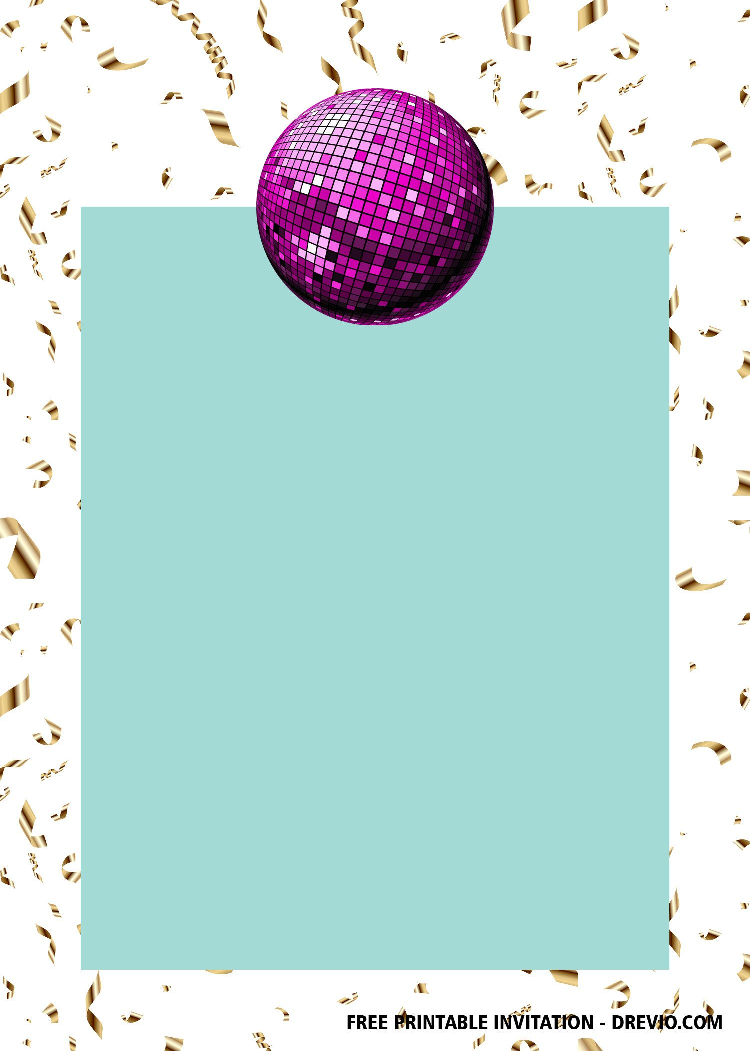 FREE Printable Disco Party Invitation Templates  Party invite