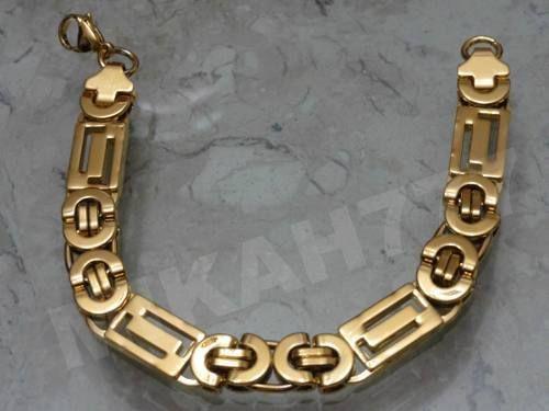 Pulseira Masculina Aço Inox Banhada A Ouro 12mm  b920a00658f