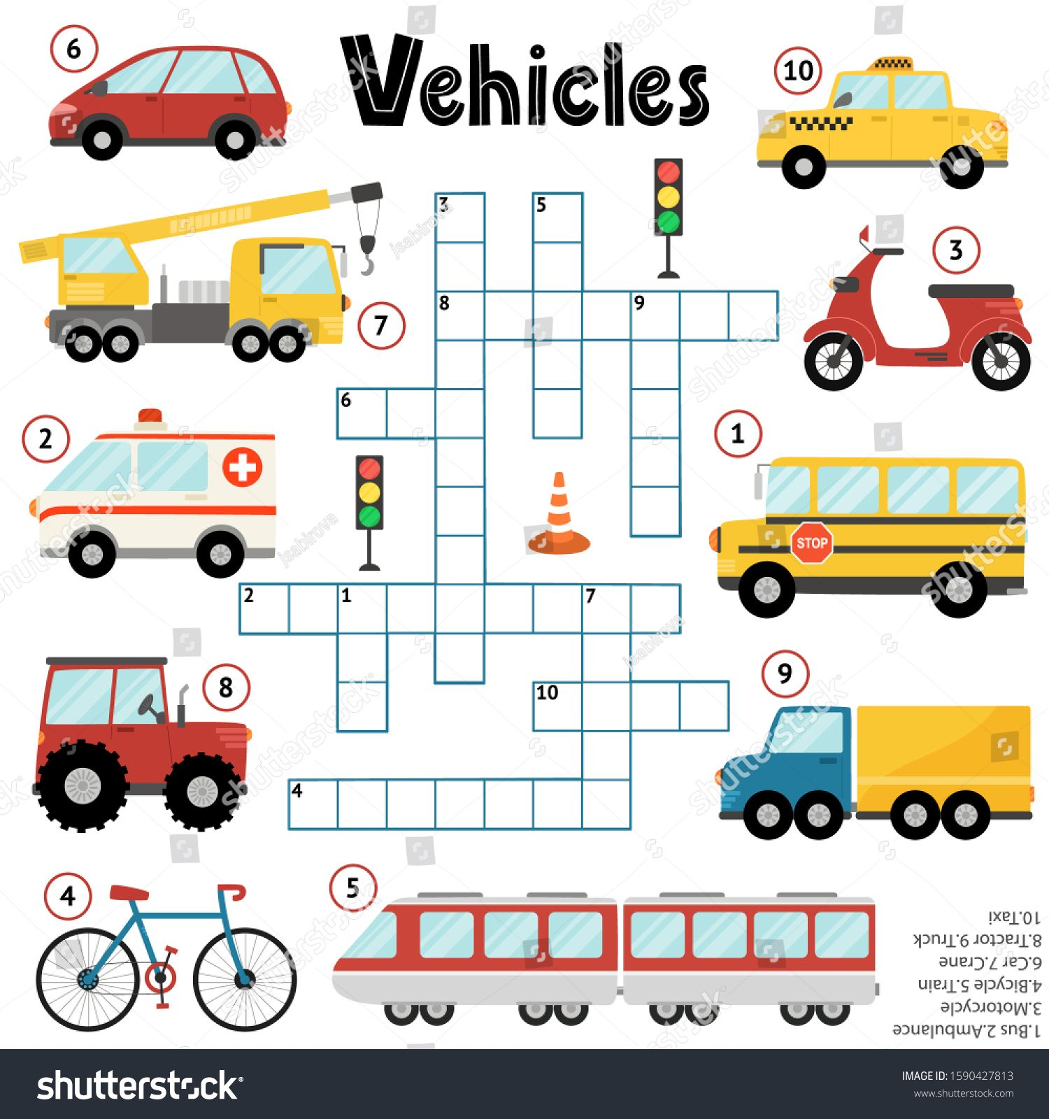 Crossword Puzzle Game For Kids About Vehicles Educational Activity Sheet For Boys With T Puzzle Games For Kids Crossword Puzzle Games Activity Sheets For Kids
