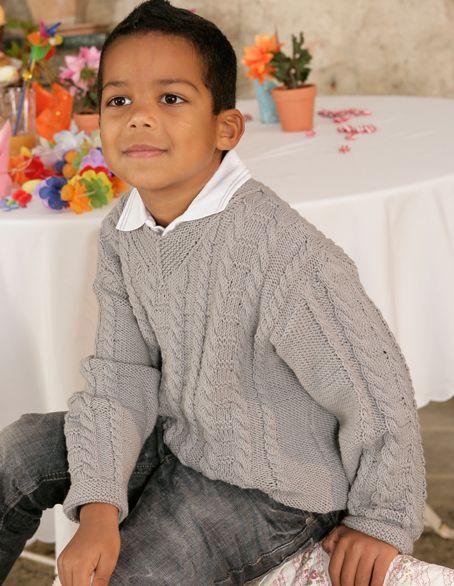 Verena Knitting Magazine – boy knit cable aran bulky sweater - Patterns - Children