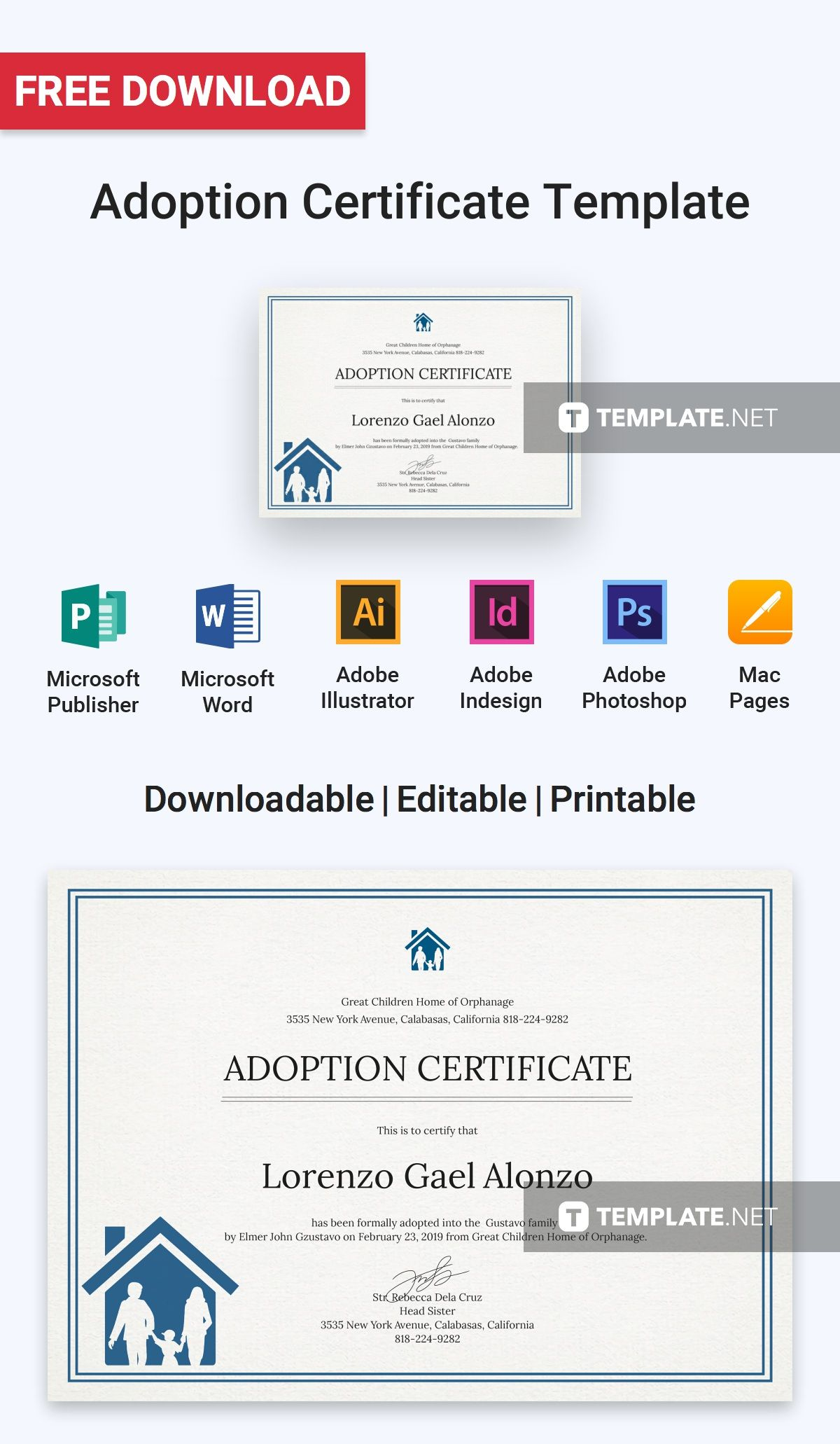 Free Adoption Certificate Certificate Templates Designs 2019