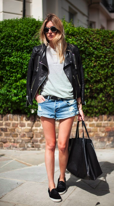 Moto Jacket x Distressed Denim Shorts - Cool Girl Street Style - Camille Charrière CamilleOverTheRainbow.com Style