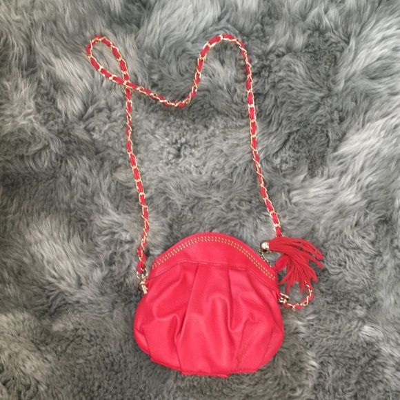 Cherry Red Cross Body Red Cross body with gold accents Francesca's Collections Bags Crossbody Bags